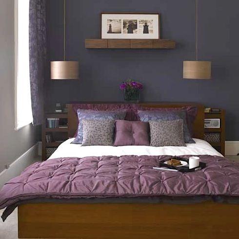 dark-purple-bedroom  I love the pendants over the night stands