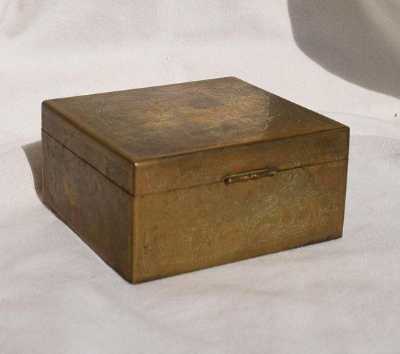 Brass desk organizer 1930s trinket dish Antique jewelry box