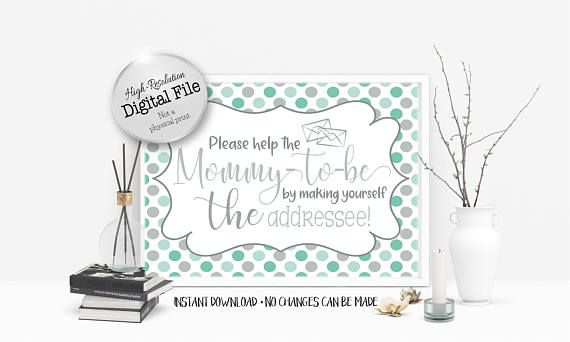 Help the Mommy-to-be Addressee Sign Baby Shower Decor