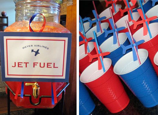 Airplane theme baby shower by Attention 2 Detail Events | Chickabug -- I like Jet Fuel for a drink name.