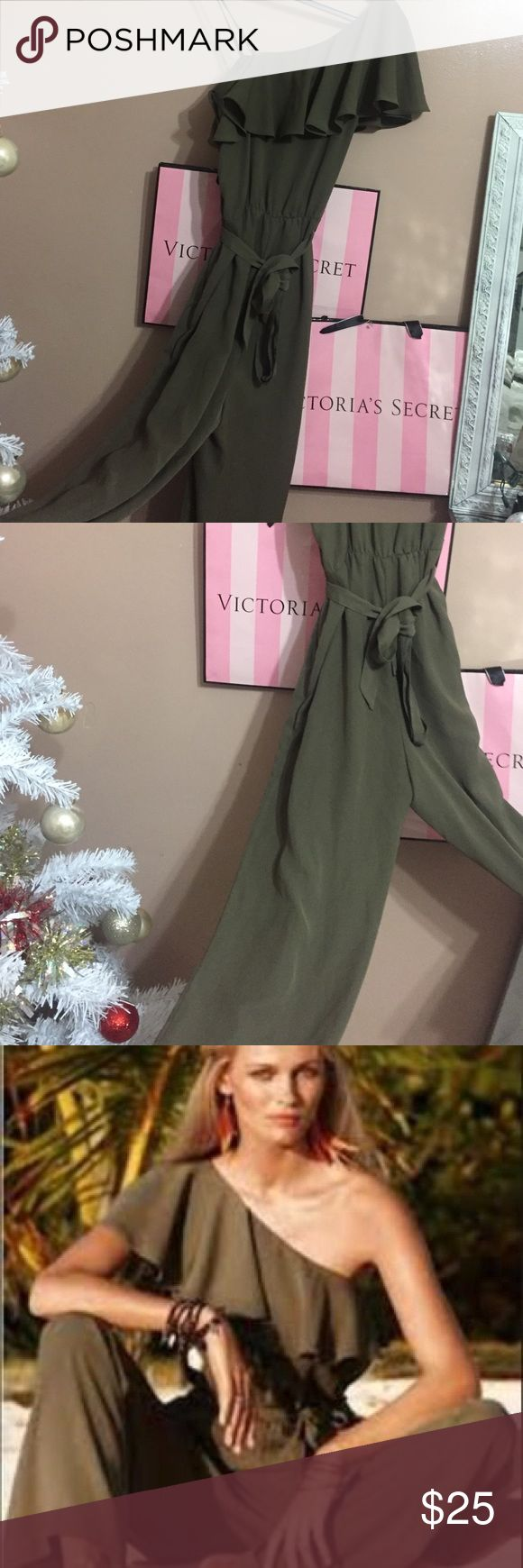 H&M Olive Green One Shoulder Jumpsuit H&M. Never worn myself (with no tags). One shoulder jumpsuit. In Good condition. US: 4 CANADA: 4 EUROPE: 34. Which are all small H&M Pants Jumpsuits & Rompers