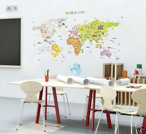 Great LARGE WORLD MAP Flag Symbols children kids art decor decals stickers removable Weltkarte F r KinderInneneinrichtungHaushalteWeltkarte