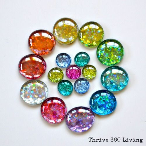 DIY Glitter Gems - Use them for crafts or turn them into magnets.