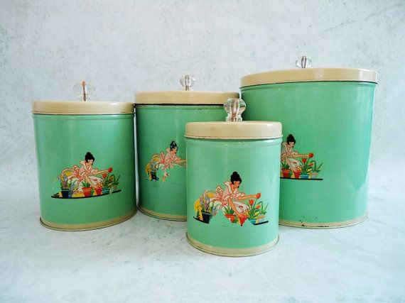 Vintage Jadeite Jadite Green Tin Kitchen Canister Set 1940s Storage Canisters