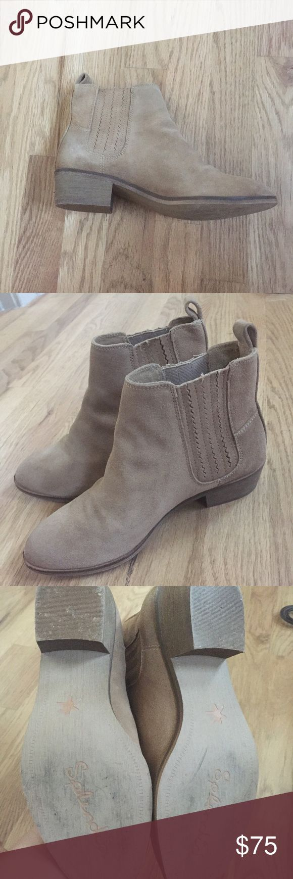 Splendid 6.5 suede ankle boots Like new, only has been worn around the house. No zipper but slip on Splendid Shoes Ankle Boots & Booties
