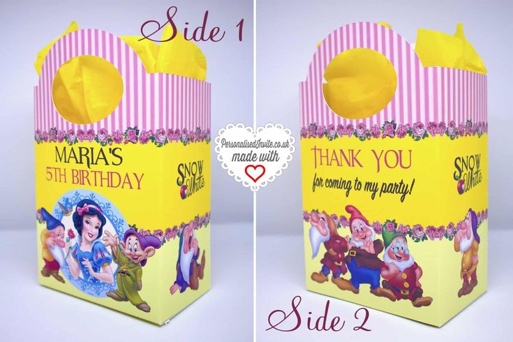 Personalised Disney Snow White Party Bags - Personalised Invite