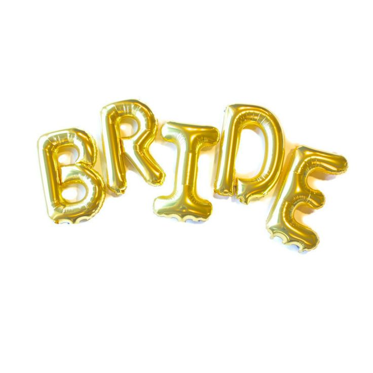 Celebrate the special lady to be wed with these gold foil 16 inch BRIDE…