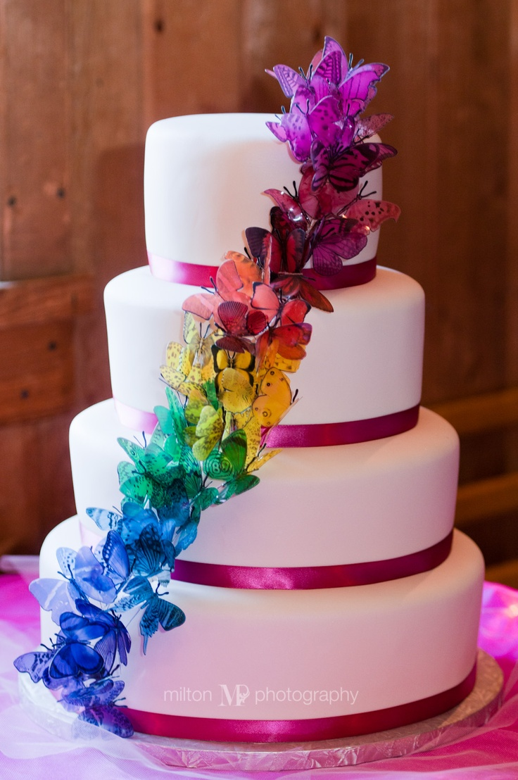 rainbow butterfly wedding cake rainbow butterfly cake ideas and designs 18957