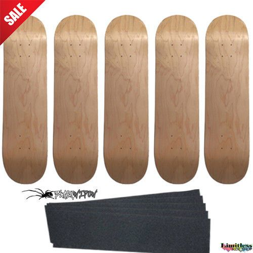 """5 Natural Pro Skateboard Decks Size 8.25"""" Lot of 5 blank Stained + Optional Grip #problank"""