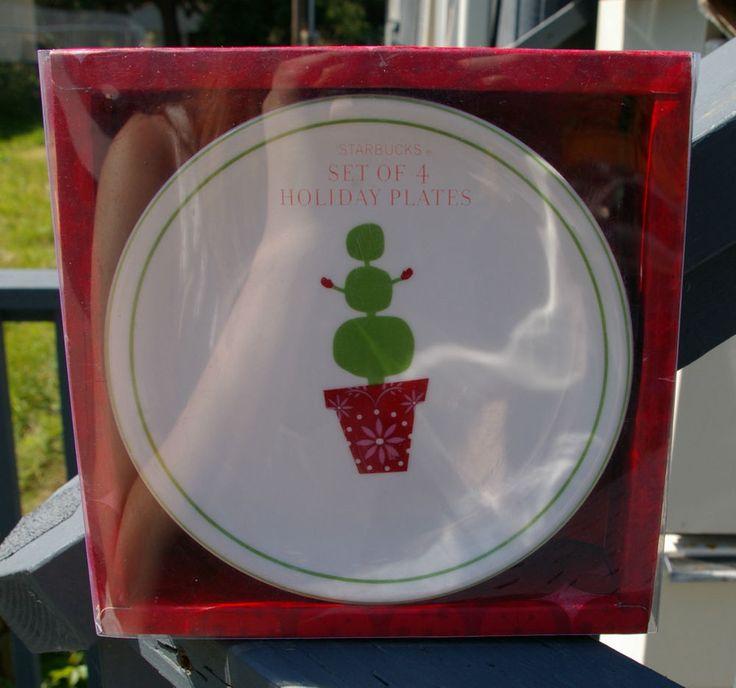 Starbucks Coffee Company Christmas Holiday Plate Set of Four with Box Snowman  | eBay