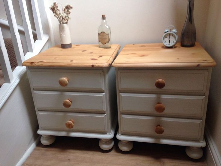 Pair Of Ducal Pine Bedside Tables Hand Painted Country White Shabby Chic