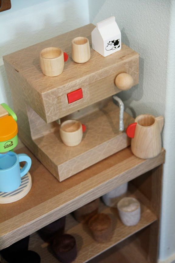 Amazing. 45Wall Design made her kid a complete play coffee house, just for fun.