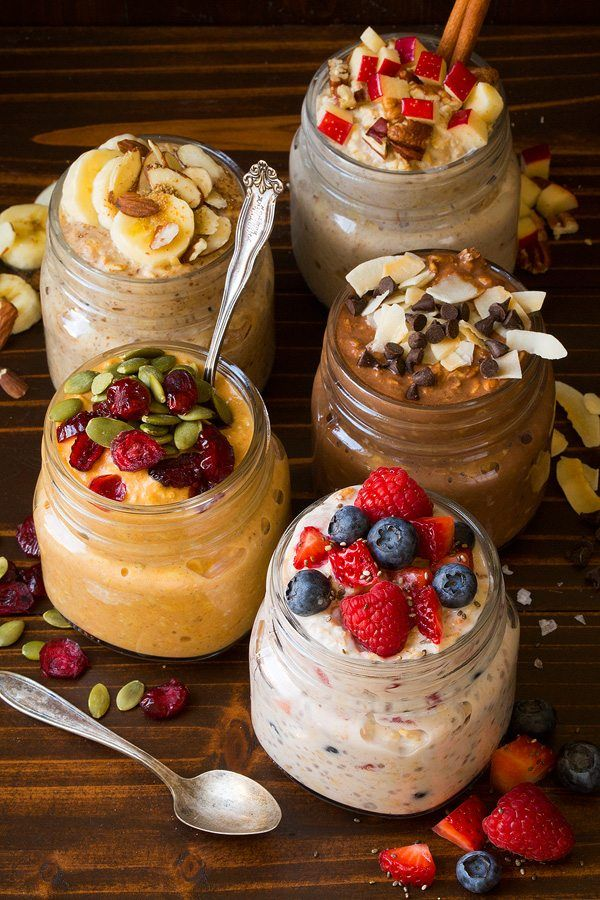 Easy, nutritious breakfast! Rolled oats are soaked in milk and yogurt overnight and are ready to eat the following morning. 5 mix-in recipes.