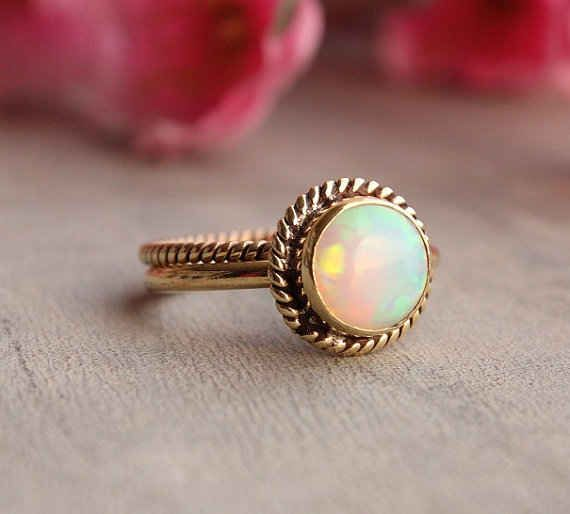 18K Gold and Opal Rings, $885 |  I love opal!