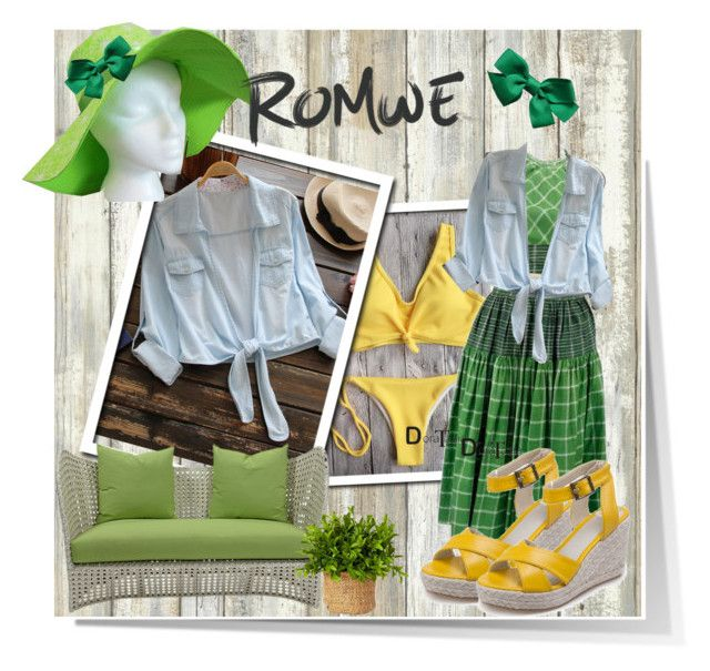 """Romwe"" by banhary ❤ liked on Polyvore featuring RoomMates Decor, Giallo, LIU•JO and David Francis Furniture"