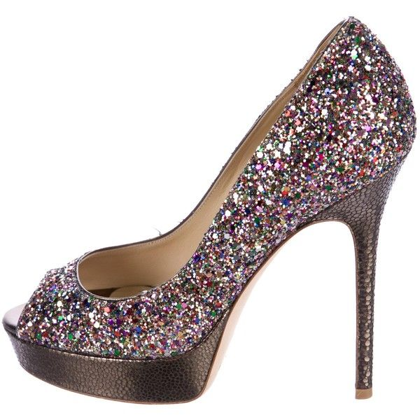 Pre-owned Jimmy Choo Crown Glitter Pumps ($175) ❤ liked on Polyvore featuring shoes, pumps, gold, gold glitter pumps, pink glitter pumps, gold shoes, gold peep toe pumps and jimmy choo pumps