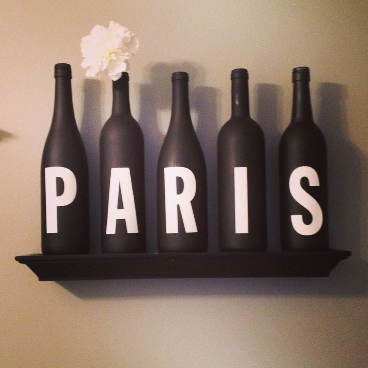 Paris themed decor. #winebottles #paris #diy