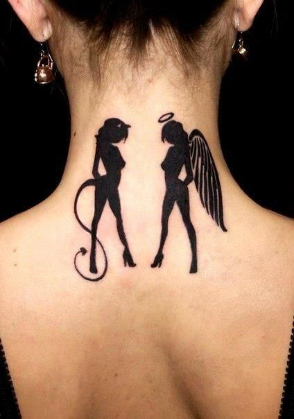 Angel and devil black tattoo…. Love it.  It's just WAY too big. A fourth that size would be cute. - PB