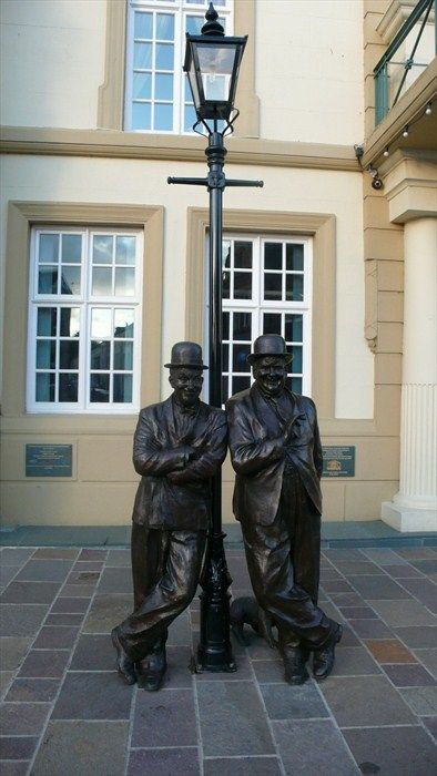 """The Laurel and Hardy statue was unveiled by Ken Dodd, who was """"tickled"""" to be asked. Stanley Jefferson (Laurel) was born in Ulverston. Norwell Hardy was born in Harlem."""