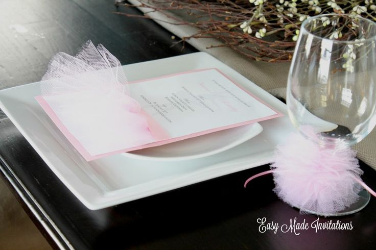 tutu invitations and wine glass rings/napkin rings from easymadeinvitations.com