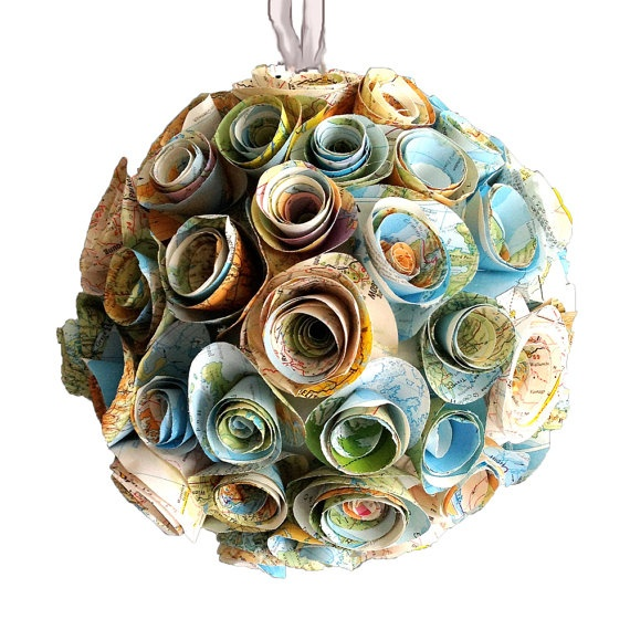 Eco Wedding or travel party. Paper Rosette Hanging Decoration  Map by coolrecycledstuff on Etsy, $75.00