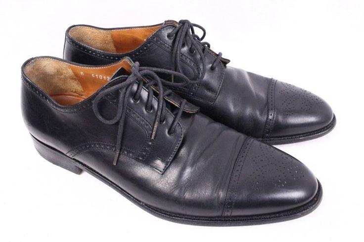 POLO Ralph Lauren Black Leather Cap Toe Half Brogue Oxford Dress Shoe Men  10.5 D #