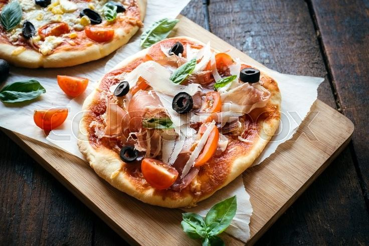 """Delicious food lunch ideas: """"Prosciutto mini pizza with parmesan cheese"""". Find more interesting images on www.colourbox.com. Only €9.50 per single images!  #photography #stockimage #food"""