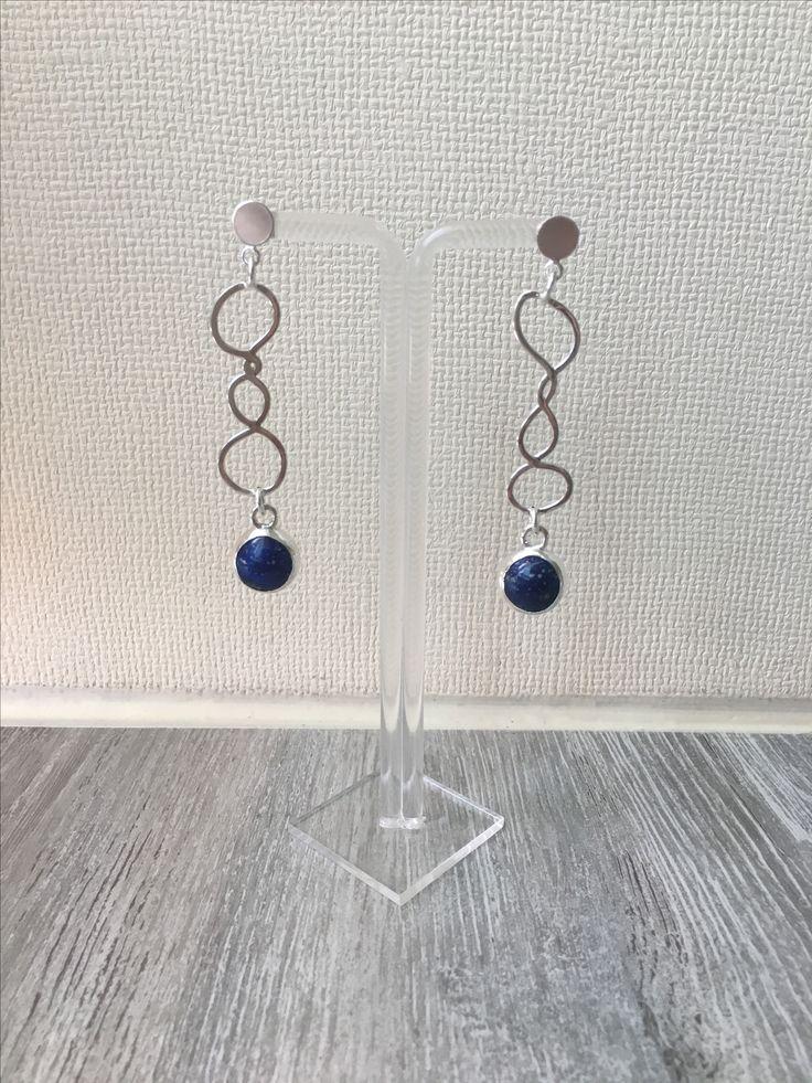 Aros de plata con lapislázuli