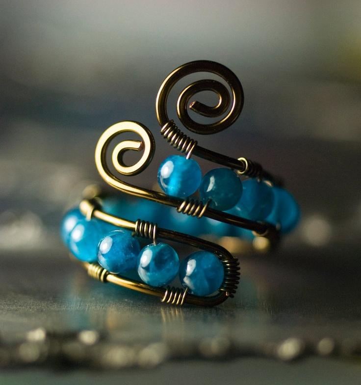 Gunmetal Copper Wirework Ring - Peacock Blue Apatite - Adjustable Caterpillar Design. $25.00, via Etsy.