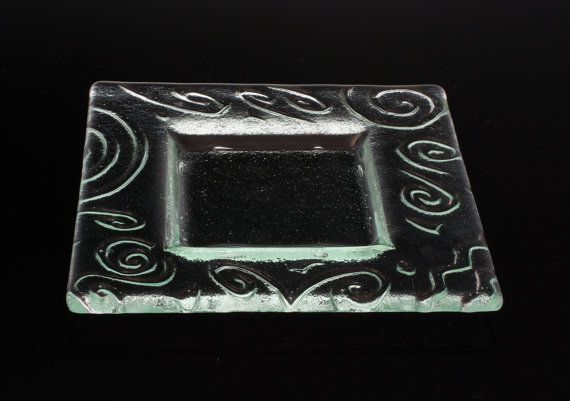 Slumped Glass Plate for Entertaining Square Glass Plate for