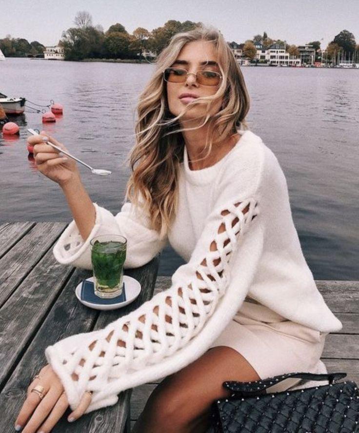 Sweater & tea on the dock. Pinterest: pearlxoxoxo