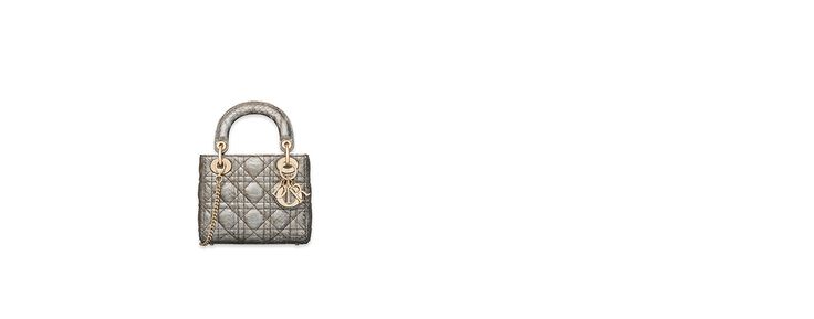 "Mini ""lady dior"" bag with chain in silver-tone metallic snakeskin - Dior"