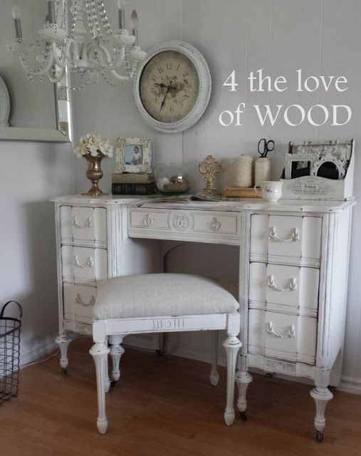 4 the love of wood: SHABBY CHIC WHITE DESK - for sale