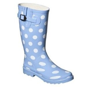 Spotted rain boots.