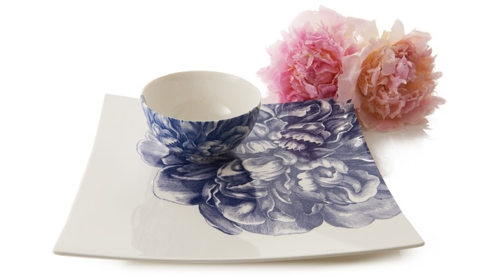 Blue Peony Serving Plate with Bowl: White Spaces, Blue Peonies, Dishes, Peonies Dishware, Ceramics, Products, Shops Openski, Design Delight, Bowls