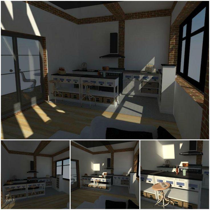 Interior design - rustic kitchen interior rendering