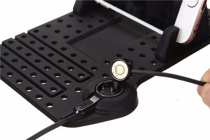 Non-Slip Car Pad Support Magnetic Dashboard Stand 8 Pin USB Cable Mount Charger Holder for iPhone Samsung GPS Black - Tmart