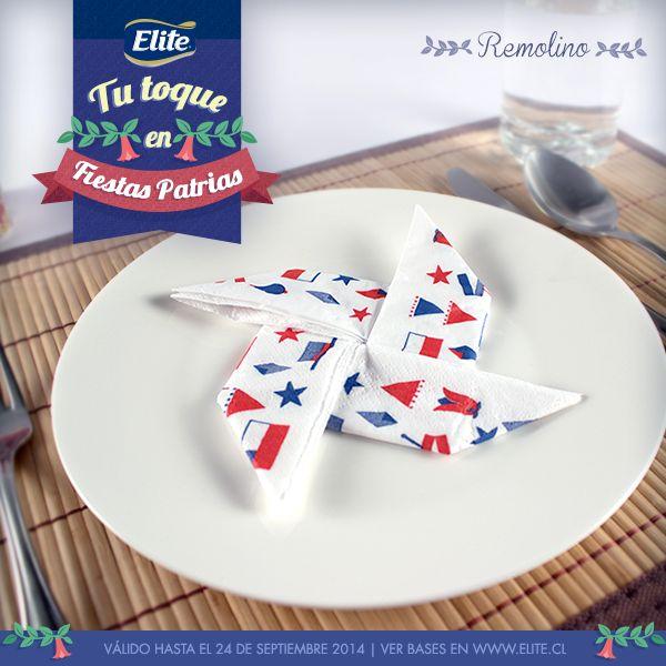 Haz un Remolino para decorar tu mesa y platos con servilletas ELITE FIESTAS PATRIAS 2014