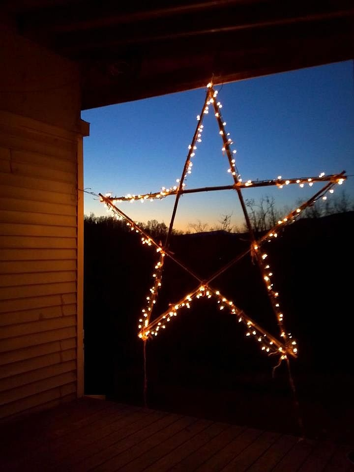 Homemade Star decoration on a country porch in Virginia, photo by Joanie Ballard, r.h ballard shop & gallery #Christmas #star