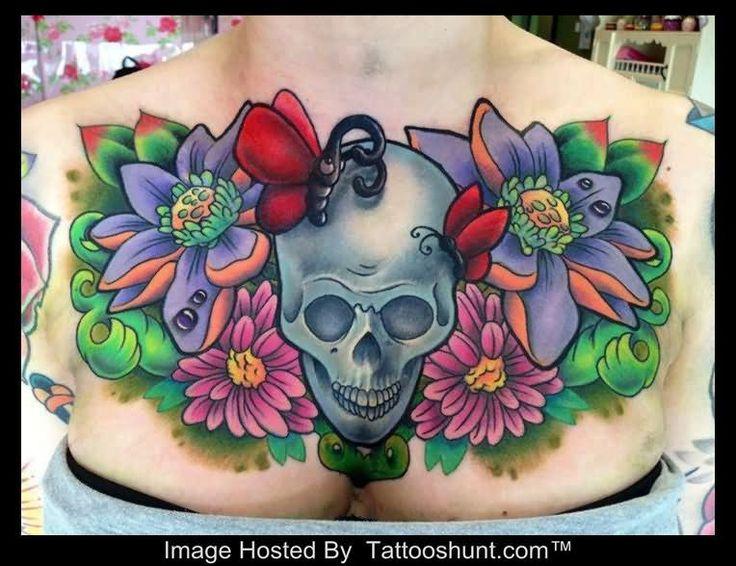 Beautiful 3D Flowers And Skull Tattoo On Girl Chest | Tattooshunt.com