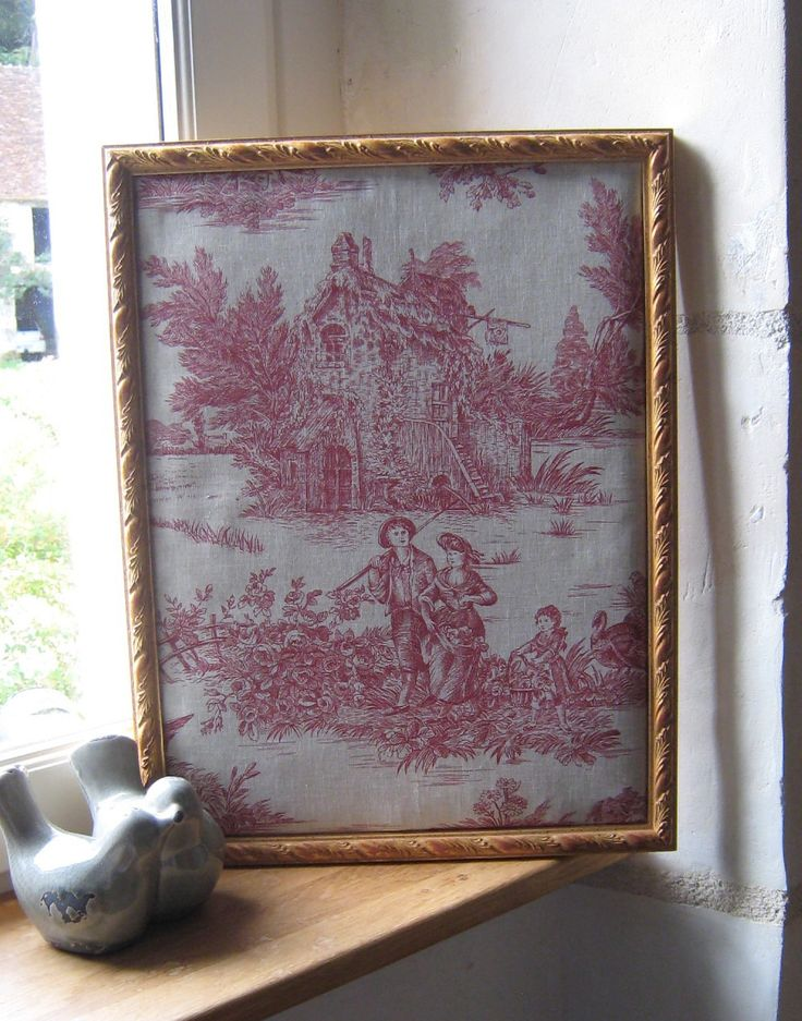 Cadre toile de jouy scène champêtre : Décorations murales par histoire-de-cadres