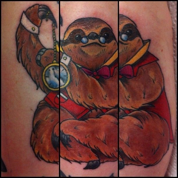 """<b>Because there is no such thing as a bad sloth tattoo.</b> """"Live slow, die whenever."""""""