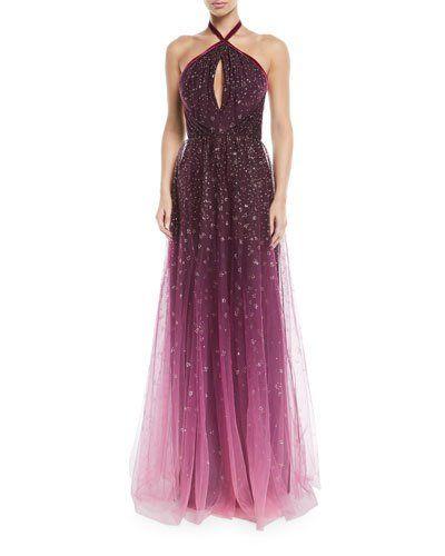 fa5e87f4985b Marchesa Notte Ombre Glitter Tulle Halter Gown in 2019 | FASHION ...