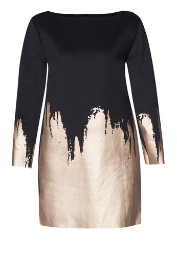 Turn up your style meter with this shift dress from Something Borrowed. The brand takes the contemporary shift dress further by clashing solid-coloured shade against metallic foiled hemline.   - Polyester - Round neckline - Long sleeves - Slip-on style - Relaxed fit - Unlined