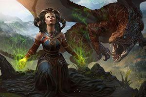 umění fantazie, ženy, umělecká díla, drak
