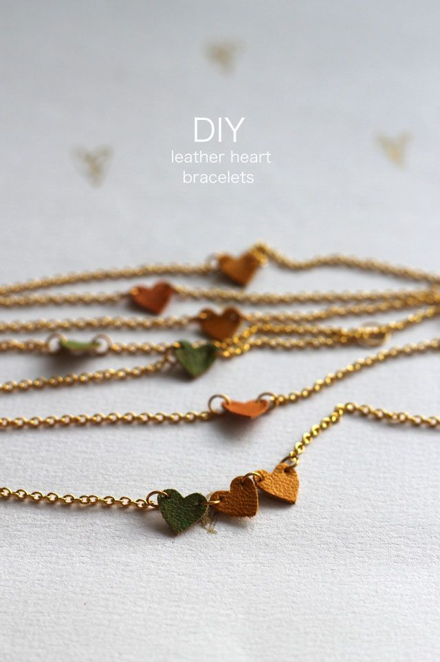 DIY Leather Heart Bracelet Tutorial from Lotts & Lots.This is an easy DIY using a heart punch and thin leather scraps (or pleather). Use different shaped punches (star, etc…) for a different look.