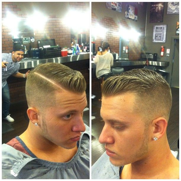 Picking new haircuts for Sam leaning towards the hard part. Love this cut!! @srbeard1196