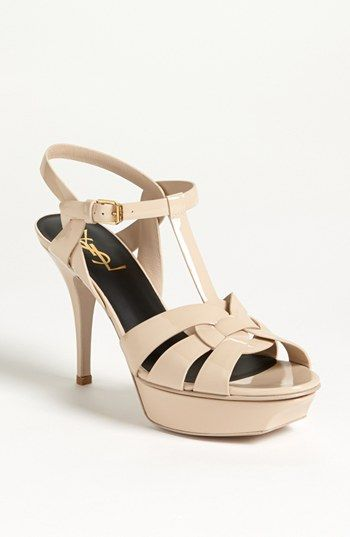 """#4 Nude/Hair Heeled Summer Sandals for skirts and dresses: YSL Tribute Sandal. Beige Patent. Approx. heel height: 3 1/2"""" with 1"""" platform (comparable to a 2 1/2"""" heel)."""