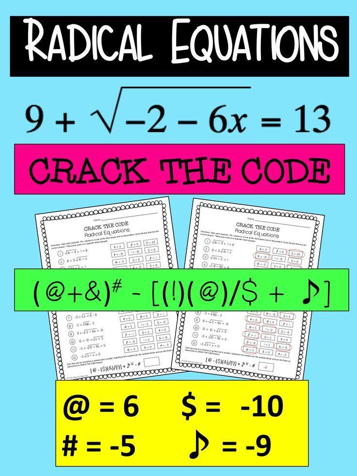 Radical Equations Activity - Crack the Code | - Math Explorations ...