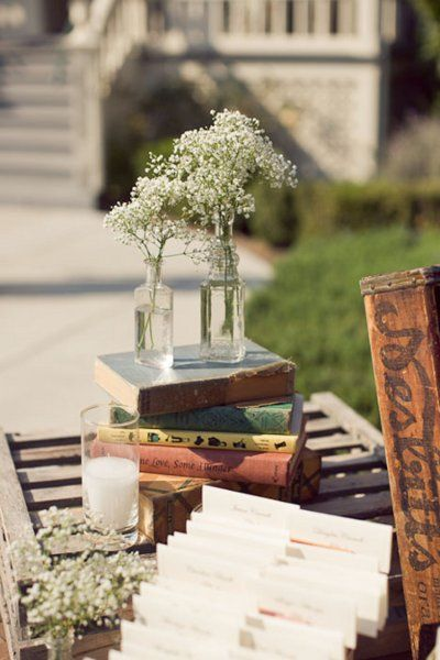 Escort Cards placed in old books: Belle of the Ball Designs; Photography by Charise; Event Planner - Your Wedding Muse